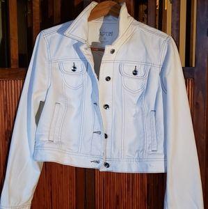 Apt. 9 XL distressed white cropped denim jacket